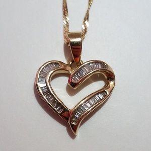 Jewelry - Diamond Heart Pendant and chain. 14k gold